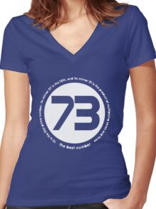 73 is the best number Women's Fitted V-Neck T-Shirt