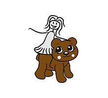 rider riding horse female girl woman walk sweet cute comic cartoon teddy bear Photographic Print