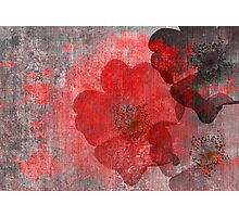 Cool, unique red grey asian style flower art Photographic Print
