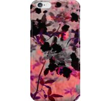Pink black romantic asian style flower pattern art iPhone Case/Skin