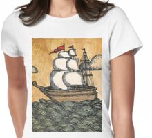 Ship on the Ocean, Antique Texture Womens Fitted T-Shirt