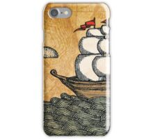 Ship on the Ocean, Antique Texture iPhone Case/Skin