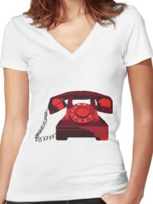 Red Phone Women's Fitted V-Neck T-Shirt