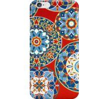 Fabric Art, Pattern, Geometric Flower Circles on Red iPhone Case/Skin