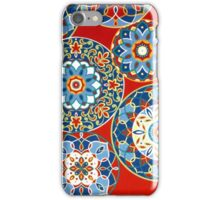 Fabric Art, Pattern, Geometric Flower Circles on Red iPhone Case/Skin