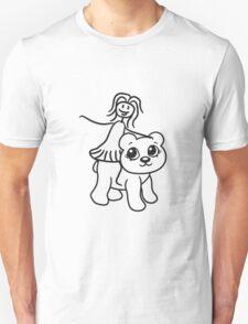 rider riding horse female girl woman walk sweet cute comic cartoon teddy bear Unisex T-Shirt