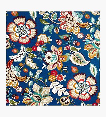 Fabric Art, Pattern, Dark Blue Floral Brocade Print Photographic Print