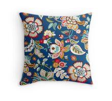 Fabric Art, Pattern, Dark Blue Floral Brocade Print Throw Pillow
