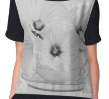 Lavatera Flowers In Tea Cup - Still Life Chiffon Top