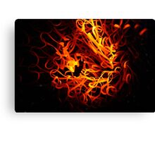 Glowing steel wool in the flame of a  blowpipe. Canvas Print