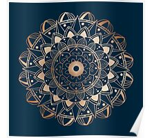 Metal mandala on dark blue background Poster