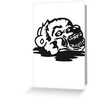 puddle undead face head zombie blood horror halloween scary evil monster hug funny sweet cute teddy bear Greeting Card