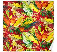 Fabric Art, Pattern, Bold Bright Colorful Leafs Poster
