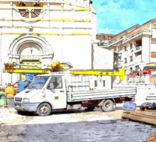 L'Aquila: collapsed church with truck and rubble Sticker