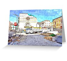 L'Aquila: collapsed church with truck and rubble Greeting Card