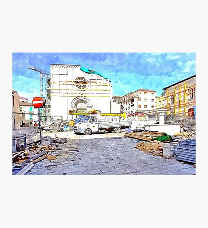 L'Aquila: collapsed church with truck and rubble Photographic Print