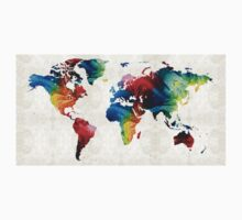 World Map 19 - Colorful Art By Sharon Cummings  One Piece - Long Sleeve