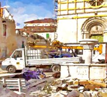 L'Aquila: collapsed church with fountain truck and rubble Sticker