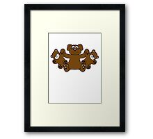papa mama children kuscheltiere twins family holding teddy team crew buddies funny Framed Print