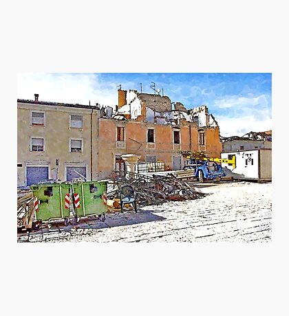 L'Aquila: collapsed buildings with rubble and fountain Photographic Print