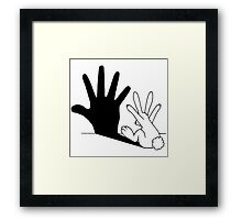 Rabbit Rock and Roll Hand Shadow Framed Print