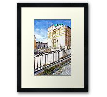 L'Aquila: collapsed church with grating and rubble Framed Print