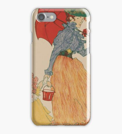 Mother with daughter, art nuevo, art deco style, kid with woman - vintage fashion art - Henri Evenepoel - At The Square iPhone Case/Skin