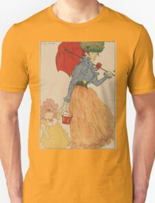 Mother with daughter, art nuevo, art deco style, kid with woman - vintage fashion art - Henri Evenepoel - At The Square Unisex T-Shirt