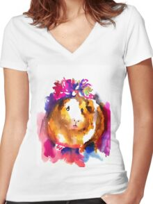 Guinea Pig in the Spring Women's Fitted V-Neck T-Shirt