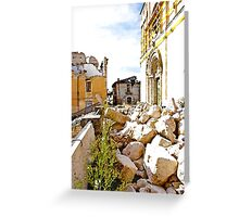 L'Aquila: collapsed church with grating and rubble Greeting Card