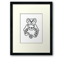 papa mama baby boy child cute sweet cartoon comic cuddle few team Framed Print