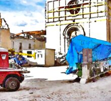 L'Aquila: collapsed church with red car and rubble Sticker