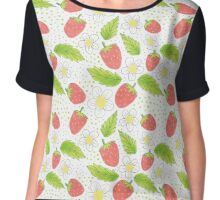 strawberry pattern with flowers and leaves Chiffon Top