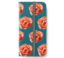 Orange roses on a blue background iPhone Wallet/Case/Skin