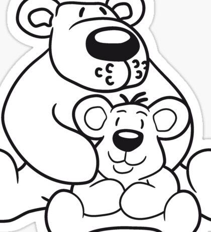 papa mama child family son daughter team polar bear sitting sweet cute comic cartoon teddy bear dick big Sticker