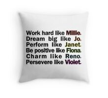 Admirable Characteristics of Sutton Foster Characters | White Throw Pillow