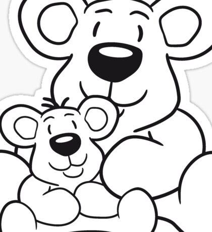 papa child, baby boy, mummy family sweet little cute polar teddy bear sitting funny dick Sticker