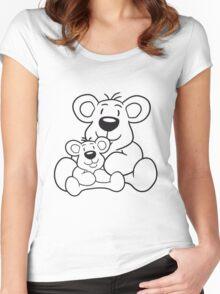 papa child, baby boy, mummy family sweet little cute polar teddy bear sitting funny dick Women's Fitted Scoop T-Shirt