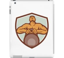 Athlete Weightlifter Lifting Kettlebell Crest Retro iPad Case/Skin