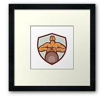 Athlete Weightlifter Lifting Kettlebell Crest Retro Framed Print