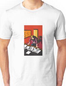 Teacher Depressed Table Classroom Woodcut Unisex T-Shirt