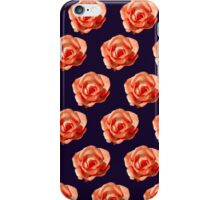 Orange roses on a dark purple background iPhone Case/Skin