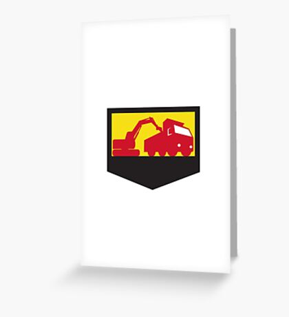 Mechanical Digger Loading Dump Truck Shield Retro Greeting Card