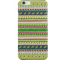 patterned stripes with leaves and flowers iPhone Case/Skin
