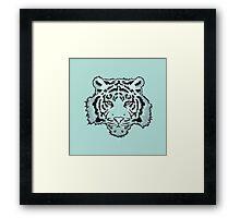 Green Watercolor Tiger Framed Print