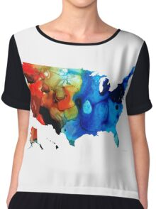 United States of America Map 4 - Colorful USA Chiffon Top