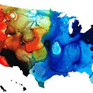 United States of America Map 4 - Colorful USA by Sharon Cummings