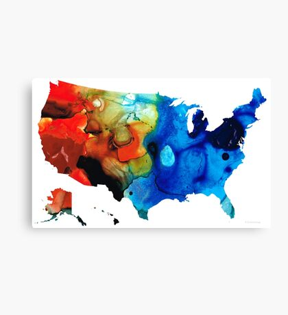 United States of America Map 4 - Colorful USA Canvas Print