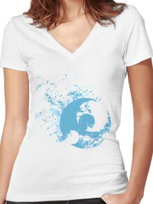 Pokemon Moon Logo - Spray Women's Fitted V-Neck T-Shirt