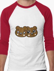 couple couple 2 faces head female girl woman sweet cute comic cartoon teddy bear Men's Baseball ¾ T-Shirt